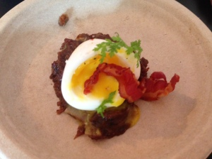 Bacon and Pork Belly Jam with Poached Egg by Kim Canteenwalla - Honey Salt