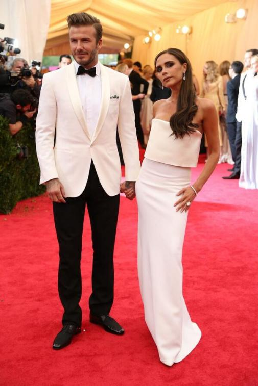 David Beckham in Ralph Lauren, Victoria Beckham in her own design