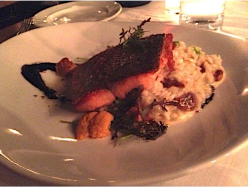 Trout with Edamame and Sea Urchin Risotto